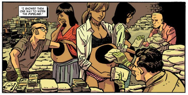 Javíer Rodríguez smuggling drugs, from Daredevil #20 by Mark Waid and Chris Samnee