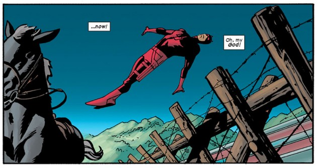 Daredevil dives across a fence, from Daredevil #14, by Mark Waid and Chris Samnee
