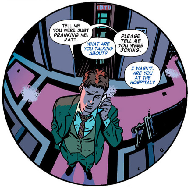 Foggy through a fisheye lens, from Daredevil #18 by Mark Waid and Chris Samnee