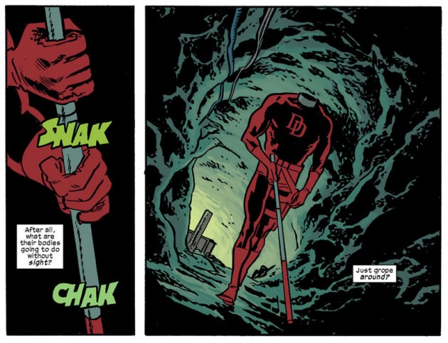Headless Daredevil struts his stuff, from Daredevil #20 by Mark Waid and Chris Samnee