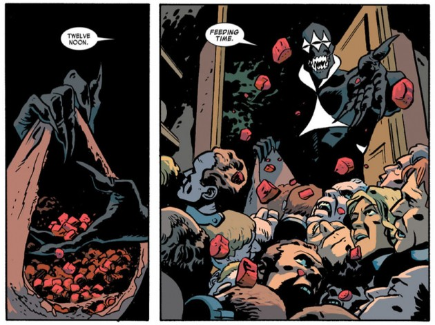 Coyote feeds a pile of heads, from Daredevil #20 by Mark Waid and Chris Samnee