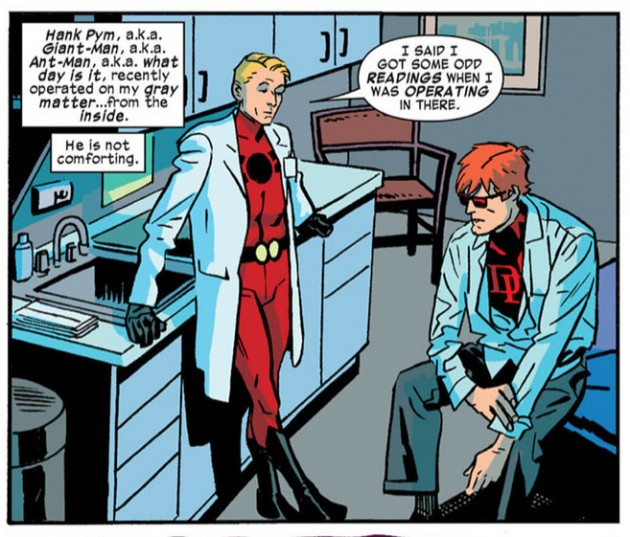 Hank Pym in costume and labcoat, from Daredevil #19 by Mark Waid and Chris Samnee
