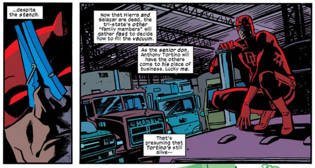 Daredevil sporting a clothespin, from Daredevil #19 by Mark Waid and Chris Samnee