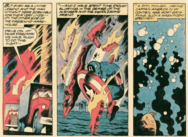 Daredevil and Cap jump into the water, from Captain America #235