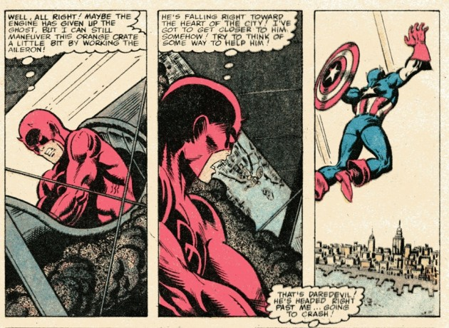 Daredevil flying a plane, from Captain America #236