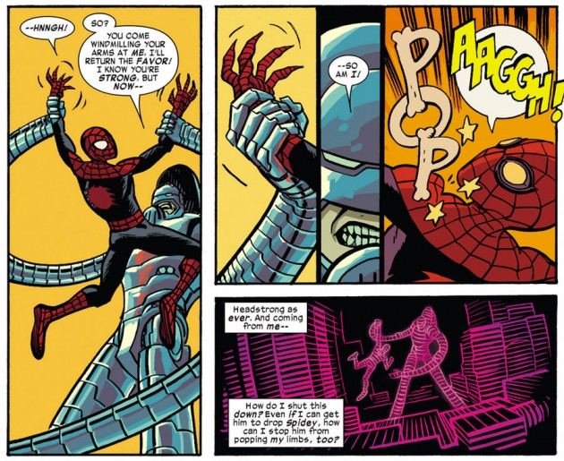 Superior Spider-Man gets a dislocated shoulder, as seen in Daredevil #22 by Mark Waid and Chris Samnee