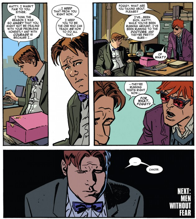 Foggy reveals to Matt the he might have cancer, Daredevil #22 by Mark Waid and Chris Samnee