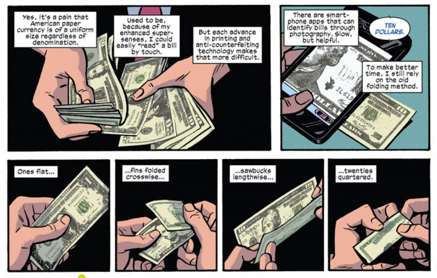 Matt tells us how he handles money, Daredevil #22 by Mark Waid and Chris Samnee