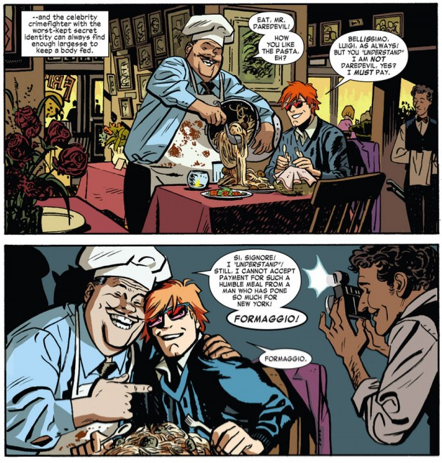 Matt at a restaurant, from Daredevil #22 by Mark Waid and Chris Samnee