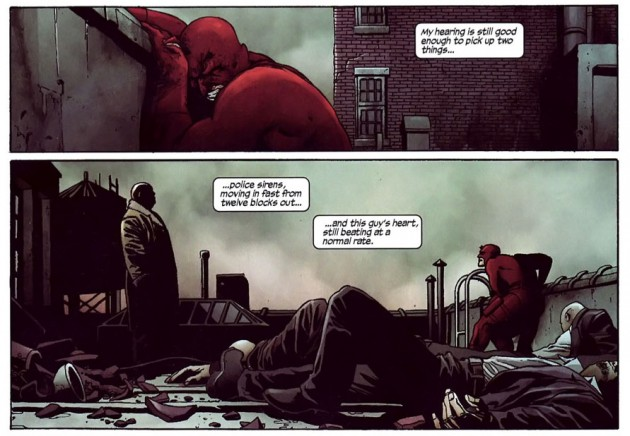 Daredevil complains about his hearing, as seen in the 2007 Daredevil annual