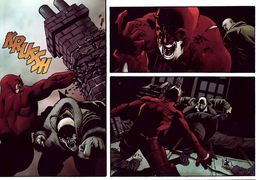 Daredevil swings and misses, punching a wall, as seen in the 2007 Daredevil annual