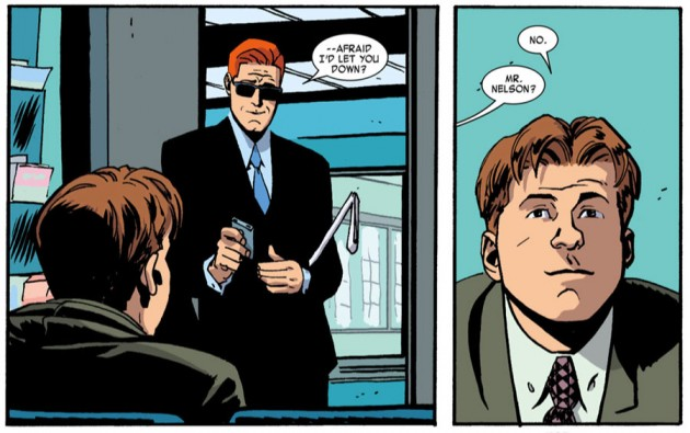 Matt meets Foggy at the doctor's, from Daredevil #23 by Mark Waid and Chris Samnee