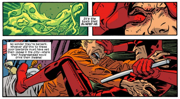 Daredevil fights prisoner, from Daredevil #23 by Mark Waid and Chris Samnee