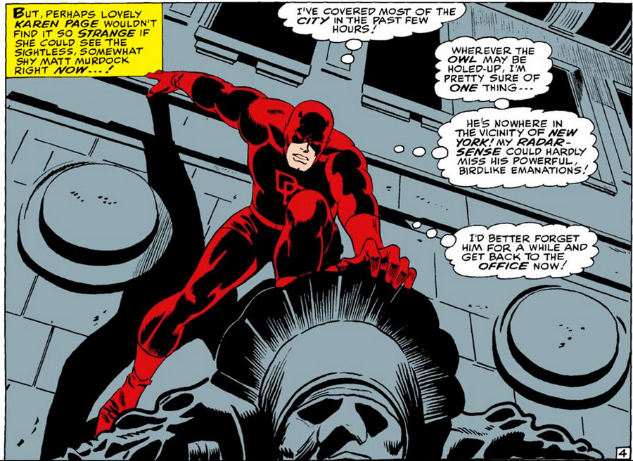 Daredevil talks of birdlike emanations, from Daredevil #22 by Stan Lee and Gene Colan