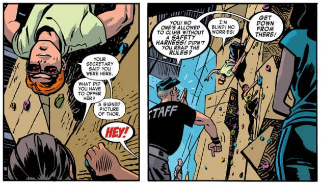 Matt and Kirsten rock-climbing, from Daredevil #24 by Mark Waid and Chris Samnee