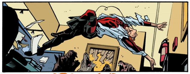 Matt jumps across his office, from Daredevil #24 by Mark Waid and Chris Samnee