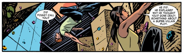 Matt jumping from the rock wall, from Daredevil #24 by Mark Waid and Chris Samnee
