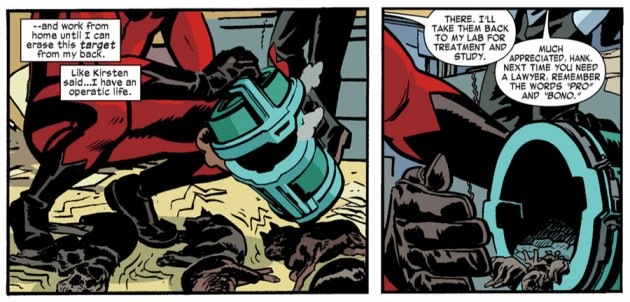 Hank shrinks dogs, from Daredevil #24 by Mark Waid and Chris Samnee