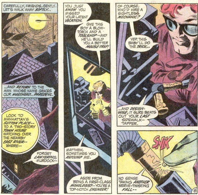 Daredevil expertly constructs a new cane, from Daredevil #82, by Gerry Conway and Gene Colan