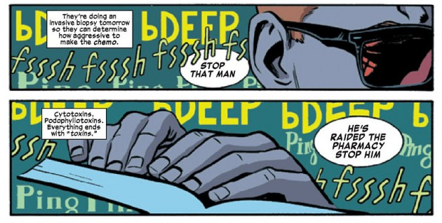 Close-up of Matt's hands, from Daredevil #24 by Mark Waid and Chris Samnee