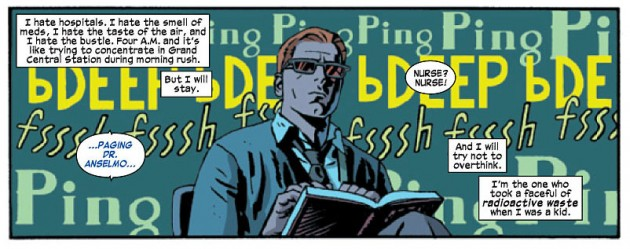 Matt reading a book about cancer, from Daredevil #24 by Mark Waid and Chris Samnee