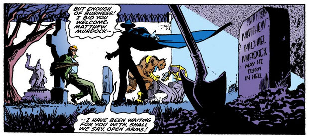 Matt tied to a tomb stone, from Daredevil #158