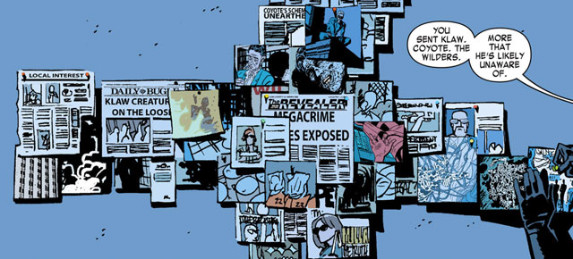 Wall of news clippings, from Daredevil #24 by Mark Waid and Chris Samnee