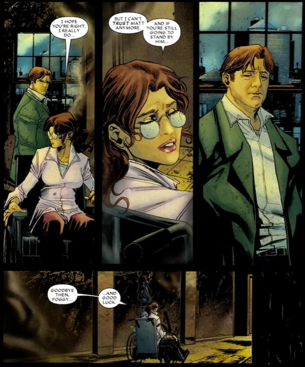 Becky leaves Foggy, from Daredevil #512 by Andy DIggle, Antony Johnston and Marco Checchetto