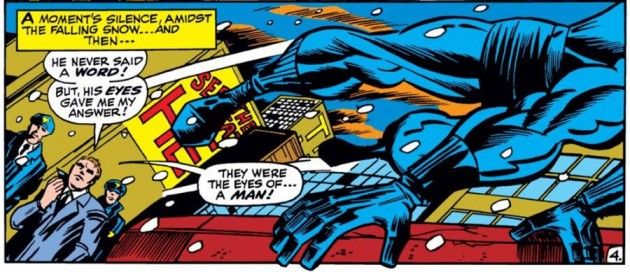 Foggy Nelson meets Black Panther, from Daredvil #52, by Roy Thomas and Barry Smith