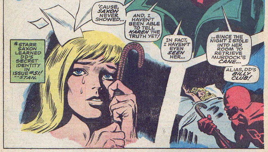 Karen in an odd pose, from Daredevil #55 by Roy Thomas and Gene Colan