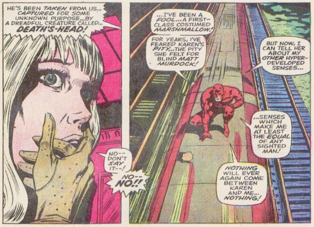 Karen Page with six fingers, from Daredevil #55 by Roy Thomas and Gene Colan