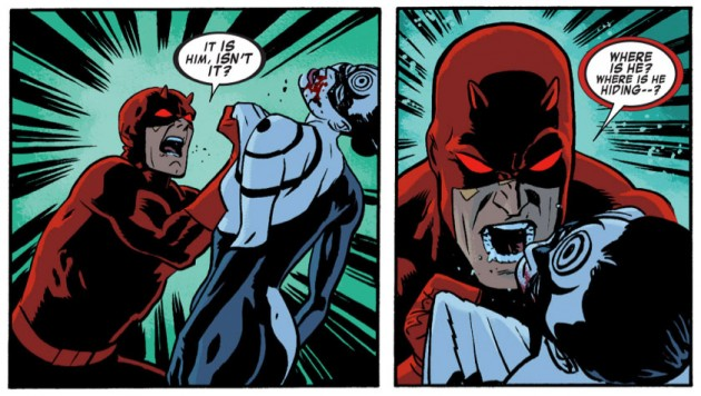 Daredevil beats Lady Bullseye, from Daredevil #26 by Mark Waid and Chris Samnee