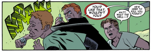 Matt goes nuts in the hospital, from Daredevil #26 by Mark Waid and Chris Samnee.