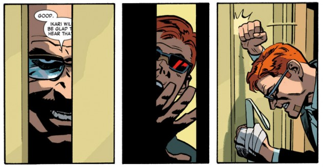Mr. Benson goes evil, from Daredevil #26 by Mark Waid and Chris Samnee