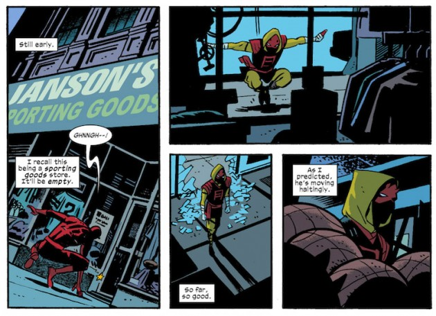 Daredevil outside a sporting goods store, from Daredevil #25 by Mark Waid and Chris Samnee