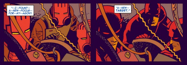 Bullseye sees Daredevil, from Daredevil #27 by Mark Waid and Chris Samnee