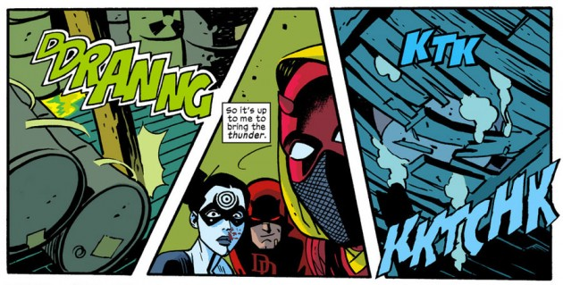 Action scene from Daredevil #27, by Mark Waid and Chris Samnee