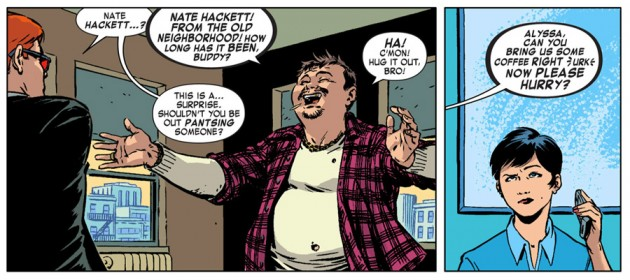 Matt meets Nate Hackett, from Daredevil #28 by Mark Waid and Javíer Rodriguez