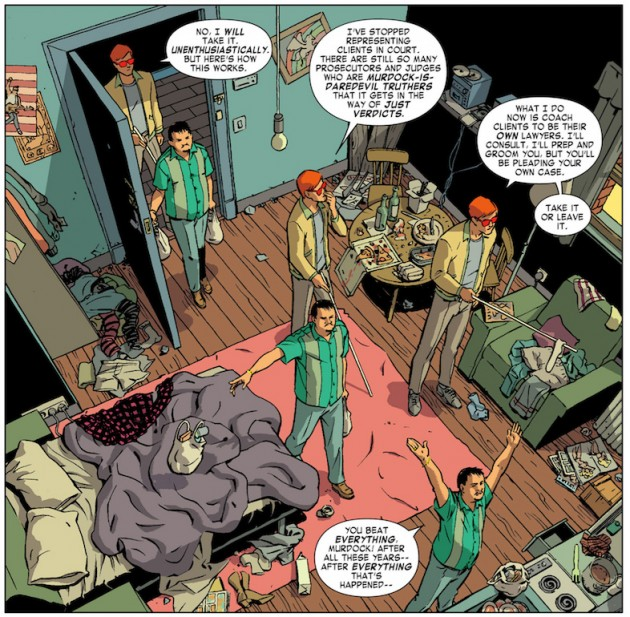 Matt in Nate's apartment, from Daredevil #28 by Mark Waid and Javíer Rodriguez
