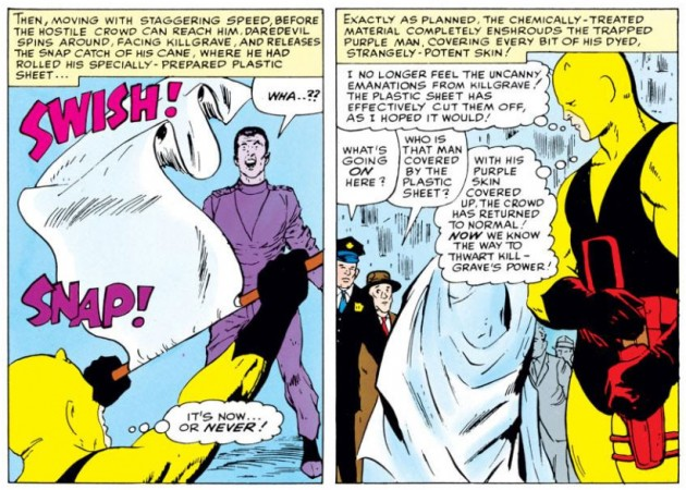 Daredevil throws the sheet at Purple Man who is completely covered by it, from Daredevil #4 by Stan Lee and Joe Orlando