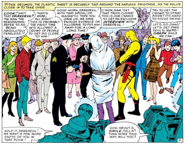 Purple Man is successfully apprehended by Daredevil, as seen in Daredevil #4 by Stan Lee and Joe Orlando