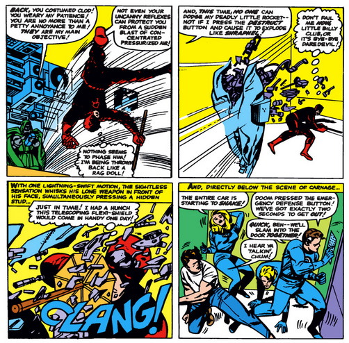 Daredevil demonstrates the telescoping flexi-shield, from Fantastic Four #40, by Stan Lee and Jack Kirby