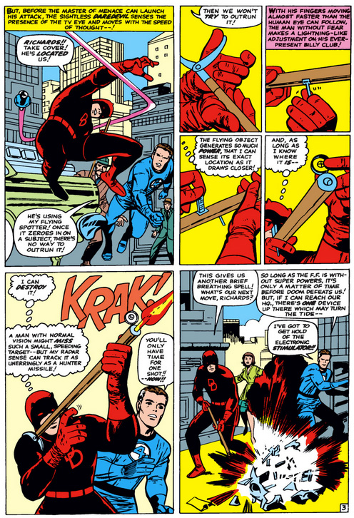 Daredevil uses his billy club as a rifle, from Fantastic Four #40 by Stan Lee and Jack Kirby