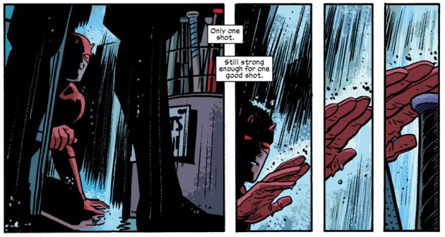 Daredevil hides from Ikari, as seen in Daredevil #25 by Mark Waid and Chris Samnee