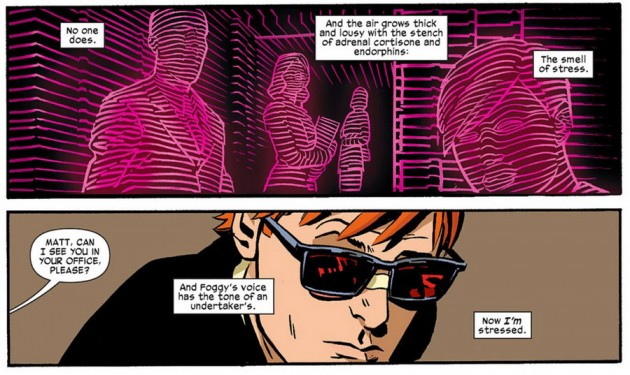 Matt confronts the office staff, as seen in Daredevil #16, art by Chris Samnee