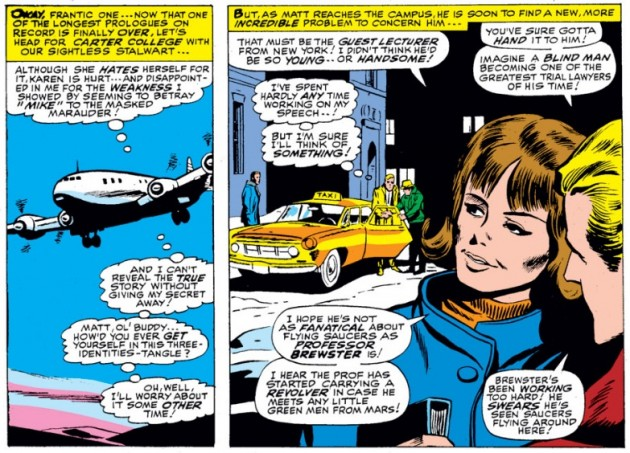Matt Murdock arrives at Carter College, as seen in Daredevil #28 by Stan Lee and Gene Colan