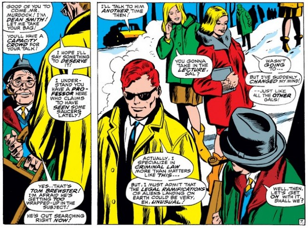 Young college students admire Matt, from Daredevil #28, by Stan Lee and Gene Colan
