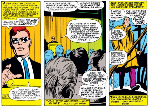 Matt gives his lecture at Carter College, from Daredevil #28 by Stan Lee and Gene Colan