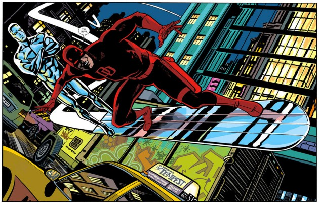 Daredevil rides the Silver Surfer's board, as seen in Daredevil #30 by Mark Waid and Chris Samnee
