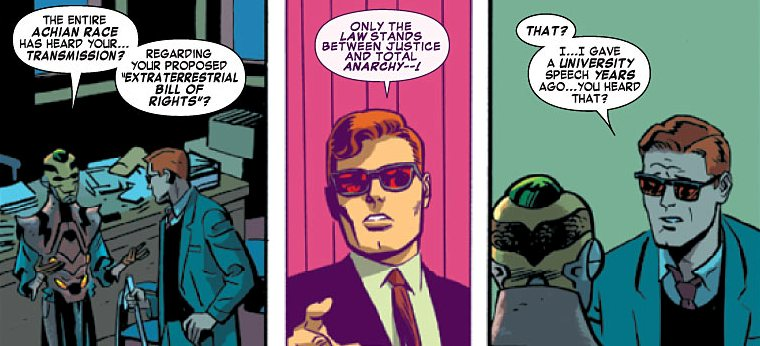 Matt remembers his lecture at Carter College, from Daredevil #30 by Mark Waid and Chris Samnee